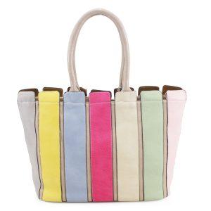 Multi-Coloured Striped Beige Shoulder Bag.